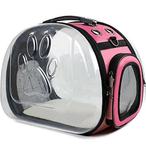 tragbare Falten Bequeme PU Material klar PC Schale Reise Katze Tasche Schulter transparent atmungsaktiv Hund Tasche Outdoor-Camping,Pink ()