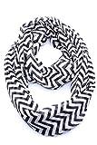 Frauen Damen weich Voile Wellen Drucken schier unendlichen Loop Schal schwarz weiß und grün