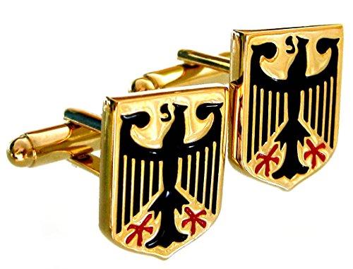 Wappen Manschettenknöpfe Adler vergoldet glänzend + schwarze + rote Lackeinlageplus Geschenkbox