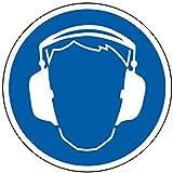 LEMAX® Gebotsschild Gehörschutz benutzen, Folie selbstklebend 10 cm Ø (Kopfhörer, Schutzausrüstung) praxisbewährt, wetterfest