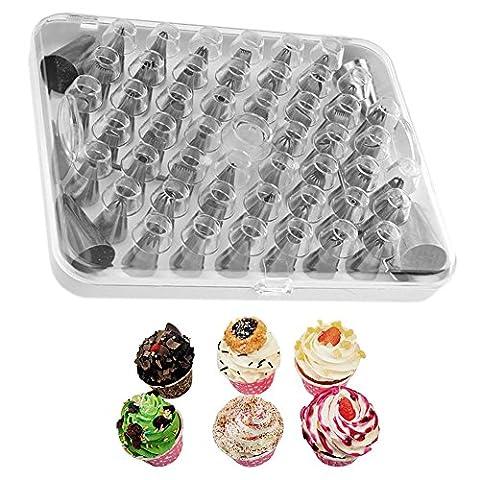 Yihya Edelstahl 52 PCs Küchenchef Bakers Tortendeko Spritztüllen Garniertülle Kuchen Pastry Tipps Tool Aufbewahrungsbox Box Set mit Kuppler Kupplung Am besten für Cake Dekoration