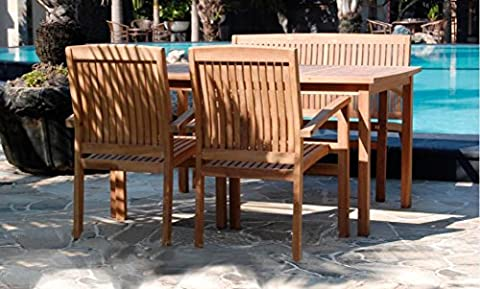 150cm Large Solid Teak Wood Table & 2 Stacking Chairs Bench Durable Set Outdoor Patio Garden Furniture Wooden Rectangle Sets Made in Indonesia (Table & Bench)