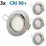 Ultra Flach LED Einbaustrahler - Tolles Design - Warmweiss Kaltweiss - 3.5W 230V Edelstahl Optik Schwenkbar - Einbauspots - Einbauleuchten (5.5W-Warmweiss-3er)