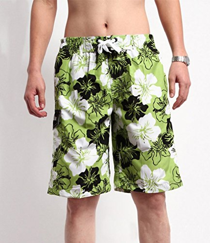 YoungSoul Herren Badeshorts Sandstrand Shorts Streifen Bermudashorts mit Blumen-Print S-XXL Grün