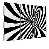 Kunstdruck - Abstrakte 3D Spirale - Bild auf Leinwand - 120x80 cm 3tlg - Leinwandbilder - Urban & Graphic - Wirbel - Vortex - modern - schwarz weiß