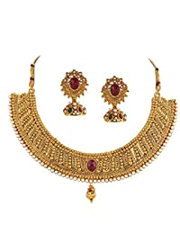 Zephyrr Fashion Traditional Gold Plated Necklace Jhumki Earrings Set Pearls For Girls And Women