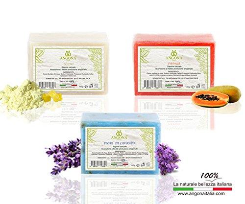 ANGONA Paket von Natürliche Seife 3 Arten x 100g -mit Lavendelblüten,mit Schwefel,mit Papaya- Passend für alle Hauttyp,Nährstoffe und anti-inflammatorische für Gesicht, Körper und Hände -Italienische Produkte und handwerkliche Verarbeitung bei niedrigen Temperaturen- (Niedrigen Schwefel -)