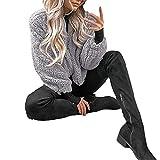 frauen winter warme tasche flauschigen mantel fleece pelz jberbekleidung hoodies wrap-transwen wrap stricken einfarbig outwear-damen winterjacke pelzmantel warm parka outwear cardigan (Grau,XL)