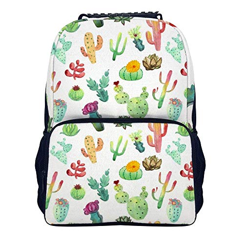 Schulrucksack, Colorful Vibrant Cactus Succulents Shoulders Backpack Cool Two Mesh Side Pockets Laptop Bag for Adults and Children (Side Bag Laptop)