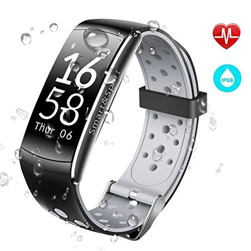 JUCERS Fitness Armband mit Pulsmesser, Wasserdicht IP68 Schwimmen Unterstützte Fitness Tracker, Multi Übungsmodi Schrittzähler Blutdruck Kalorienzähler Schlafmonitor Uhr SMS für Kinder Frauen Männer