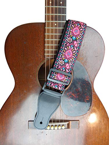 New Pink Black White Retro Vintage Jacquard Woven Acoustic Electric Guitar Strap
