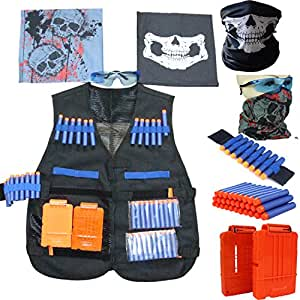 Gilet tattico per Nerf N-Strike serie Elite,Camuffamento Gilet tattico giubbotti kit (dotata di Teschio maschere + Occhiali protettivi + 20pcs Schiuma dardi + 2pcs Caricatore a ricarica rapida) (Kit-camuffamento)