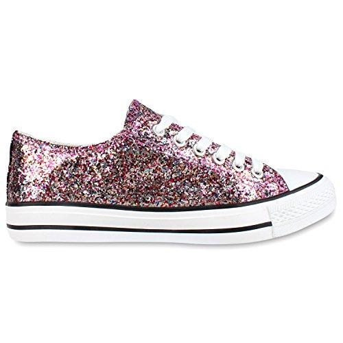 Elegante Damen Sneakers low | Glitzer Canvas Schuhe | Turnschuhe Freizeit | Gr. 36-41 Mehrfarbig
