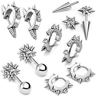 aroncent 100Herren Gothic Edelstahl Creolen Spike Punk Ohrring Plug Piercing Clip Ohrstecker Vintage Nieten