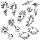 Search : Aroncent 10PCS Men's Gothic Stainless Steel Hoop Spike Punk Earring Plug Piercing Clip Ear Stud Vintage Rivet