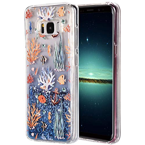 Galaxy S8 Plus Funkeln Liquid Hülle 3D Glänzend Gradient Flüssiger Sand Schwimmende Handy Hülle für Samsung, Ultra Dünn Fließender Fall flüssiger Sand bewegt, Weicher TPU Silikon Telefon Schutzhülle