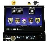 Freies Geschenk hintere Kamera 8GB Karte Radio Stereo-1 din Auto 7inch DVD-Spieler GPS-Navigation in Dash Autoradio Bluetooth 800MHZ CPU 256M RAM 128 MB ROM-Steuergerät Abnehmbare Frontseiten-Gesicht-Panel-Empfänger