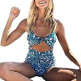 Trajes de Baño Mujer una Pieza de Impresión Atractivo Bikini Mono Sexy Verano Trikini brasileño bañadores natación Mujer 2018 Deportivos Biquinis Push-up para Mujer Amlaiworld (Azul, S)