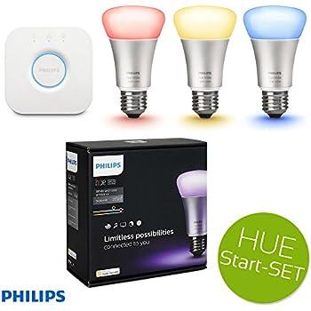 philips hue led lampe 10w a60 e27 3 er starter set inkl bridge app gesteuert dimmbar 16 mio. Black Bedroom Furniture Sets. Home Design Ideas