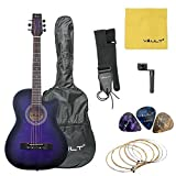 #6: Vault 38C 38 inch Cutaway Acoustic Guitar with Picks, Bag, Strings, Strap and String winder