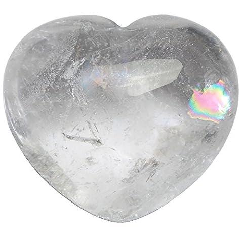 Shanxing Bergkristall Herz Stein Mini Edelstein Kristall Ornamente Dekoration Glücksbringer ca. 40x45x26 mm