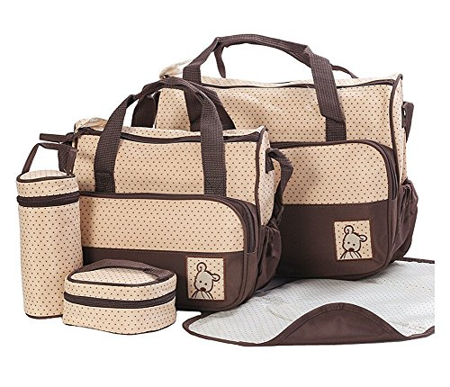 5pcs Baby bag Baby Nappy Changing Bag Set Diaper Bag Brand new (Brown)