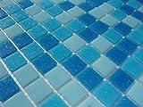 FLIESENTOPSHOP Glas-mosaik fliesen pool dusche bad AZUR blau hellblau dunkelblau sauna Mix
