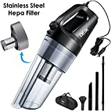 Deik Car Vacuum, Car Vacuum Cleaner With DC 12V, 4.5 Kpa Handheld Auto Vacuum Cleaner, Lightweight Car Cleaner With UL Cigarette Lighter Plug, LED Light, Stainless Steel Hepa Filter, One Carry Bag