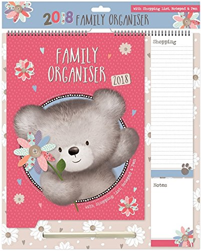 calendario-del-organizador-de-la-familia-2018-bloc-de-notas-lista-de-la-compra-de-la-pluma-oso-con-l