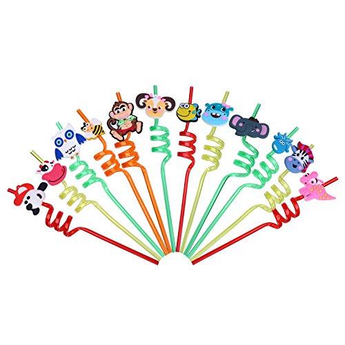 LOKIPA 12bouclés Animal pailles de fête pour Enfants, réutilisable Plastique bouclés Fantaisie Dessin animé fête d'anniversaire de Paille pour Enfants, Lots Cadeaux de fête Baby Shower - Ziegen-milch-bar