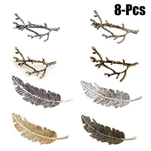 Fascigirl Haarspangen Damen,Haarclips Haarspange Frauen Metall Federförmige Retro Haarspange mädchen Haarschmuck für Mädchen (8 Pcs)