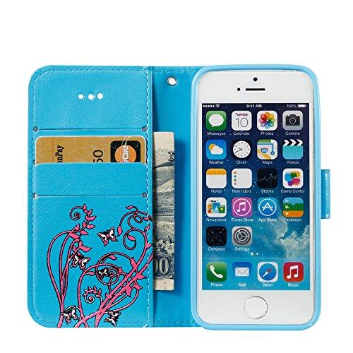 Cover iPhone 5 Rosso, Custodia iPhone 5S, YingC-T iPhone 5 5S SE Custodia a Libro Flip Magnetica e Porta Carte di Credito con Cordino Bracciale Elegante Colorato Stampato Farfalla Fiori Design Skin pu Blu