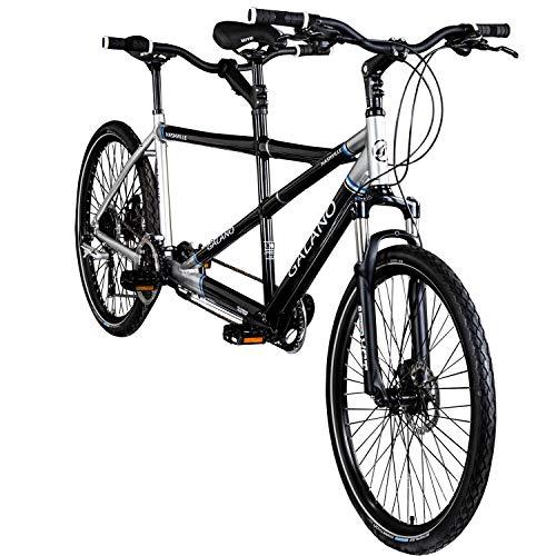 Galano Tandem Fahrrad 26 Zoll Mountainbike Nashville 24Gang MTB Hardtail Fahrrad (schwarz/grau, 53/46 cm)