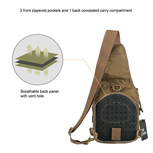 OneTigris 1000D Taktische Molle Umhängetasche EDC Brusttasche für Outdoor-Aktivitäten (Camo) Braun