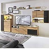 Lomadox Massive Wohnwand inkl. LED, Wildeiche massiv geölt mit Lack-Laminat Graphit, montierte Möbel