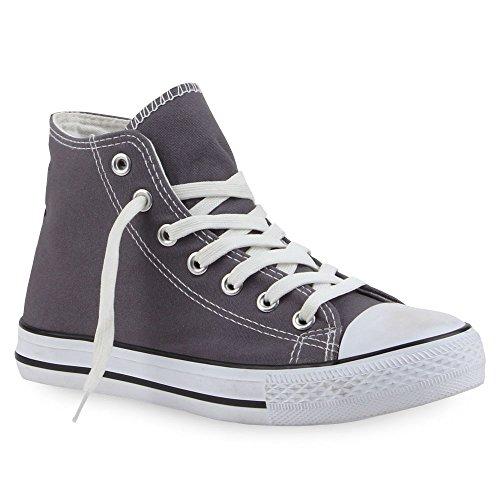 Damen Schuhe Sneaker Turnschuh High Top Grau