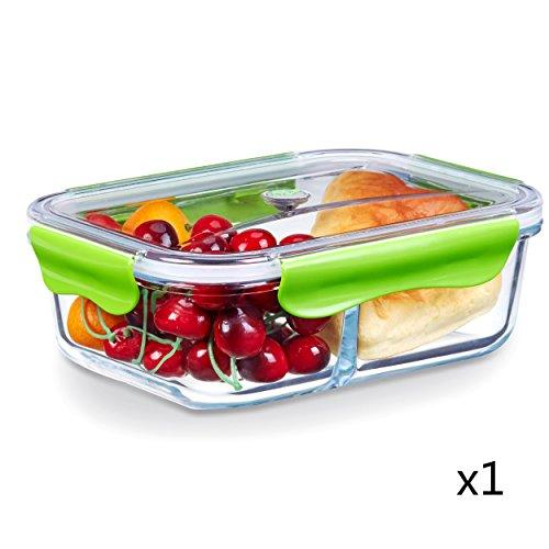 Boîtes Alimentaires, Verre Boîtes de Conservation Hermétiques Récipients Alimentaires avec Couvercle, 2-Compartiments, 100% Sans BPA, Étanches et Anti fuites Adaptées au four, au Micro-ondes, au Congélateur et au lave-vaisselle (1,52 Litre, Rectangle, Vert)