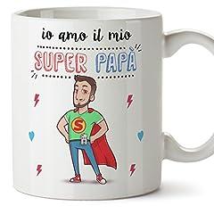 Idea Regalo - Tazza papà migliore del mondo – io amo il mio super papà – Tazza in ceramica da 350 ml Idea regalo festa del papà