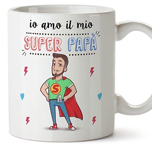 Tazza papà migliore del mondo – io amo il mio super papà – tazza in ceramica da 350 ml idea regalo festa del papà