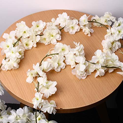 Bluelover Künstliche Seidenkirschblüten-Blumen-Hängende Rebe-Girlanden-Haupthochzeits-Dekorationen - Weiß
