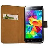 Slabo Flip Case Cover in Style Livre pour Samsung Galaxy S5Mini–en Cuir véritable–Noir–Black