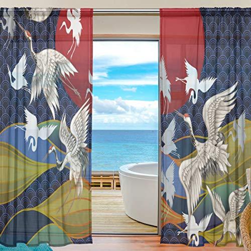 Mnsruu - Cortinas japonesas de Gasa de 213 cm de Largo, Panel de Cortinas para salón, Dormitorio y 2 Paneles