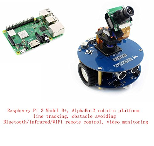 Pzsmocn Raspberry Pi Robot Kit,Contain Raspberry Pi 3 Model B+,Third Generation Pi,AlphaBot Robotic Platform,Obstacle Avoiding, Bluetooth/Infrared/Wifi Remote Control,Video Monitoring. (Remote Power Adapter Ac)