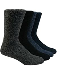 4 Pair Mens Cosy Soft Fleece Non Slip Slipper/Lounge Socks - Mixed Colours 6-11