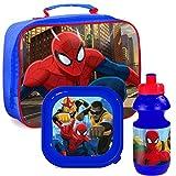 Marvel ultimative Spiderman Schule Thermal Zip Frühstückstasche, Im Feld & Flasche Satz