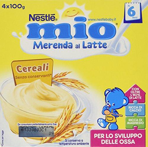 Nestlé Mio - Merenda al Latte Cereali, da 6 Mesi - 3 confezioni da 4 Vasetti di plastica da 100 g [12 vasetti, 1200 g]