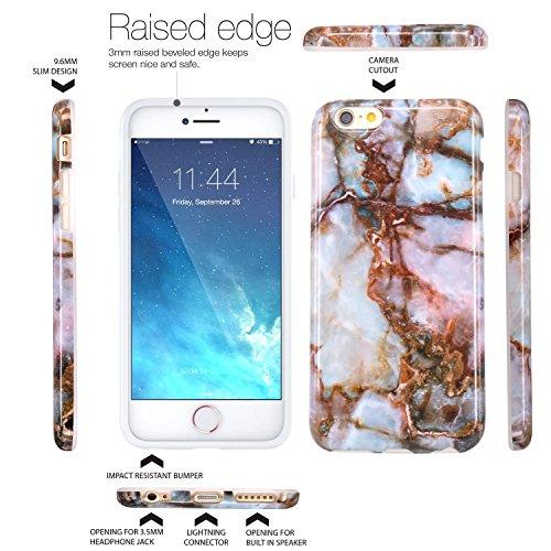 Coque iPhone 6, Coque iPhone 6S, JIAXIUFEN Silicone TPU Étui Housse Souple Antichoc Protecteur Cover Case - Noir Marbre Désign Jade Marron