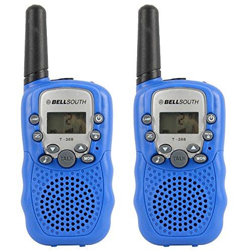 GuDoQi® Walkie Talkies Enfants Longue Portée 8 Canaux Radios Bidirectionnelles Avec Éclairage LED 2 Pcs Bleu