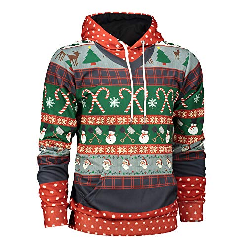 Xmiral Weihnachten Hoodies Herren Bedruckte Pullover Langarm Kapuzenshirt Tops (XXL,D)