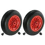First4spares - Roue complète 3.50-8 35cm, chambre à air, pneu & bagues de réduction d'axe 13mm pour brouette / go cart / remorque (rouge, lot de 1,2,4,6 ou 8) - Rouge